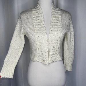 Poof Cropped Open Front Sequin Sweater